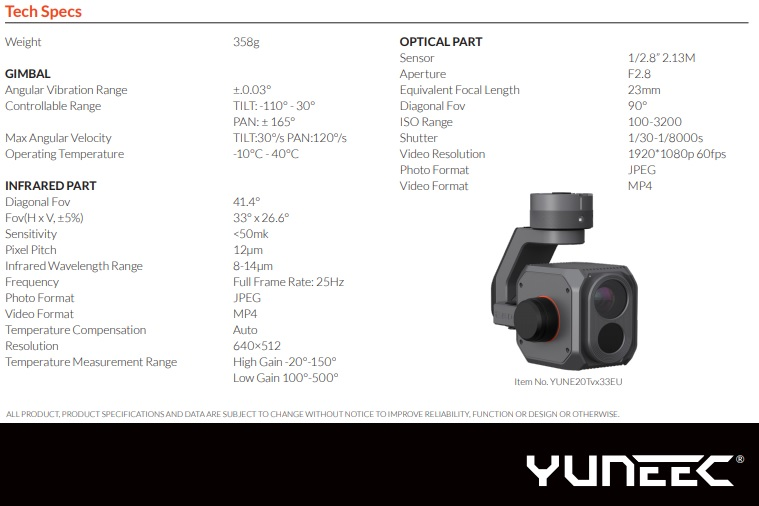 Yuneec E20Tvx - Especificaciones